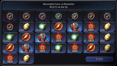 November Sign-in Rewards featuring Harley Quinn