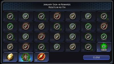 January Sign-in Rewards featuring Arkkis