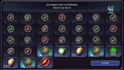 December Sign-in Rewards featuring Supergirl