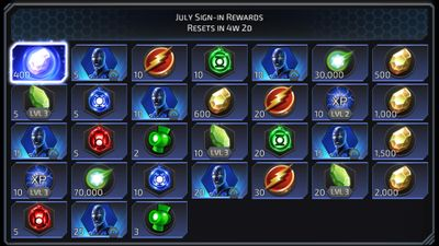 July Sign-in Rewards featuring Blue Beetle
